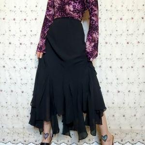 Vintage 90s Flirty Gothic Fairy Maxi Skirt